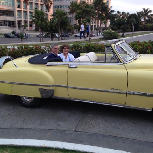 Ronnie and Harvey in a 1951 Pontiac, Havana Cuba